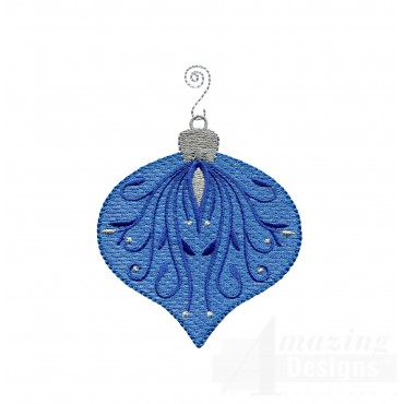 Blue Bulb Iridescent Ornament Embroidery Design