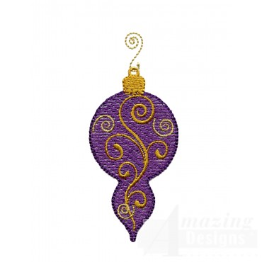 Purple Swirl Iridescent Ornament Embroidery Design