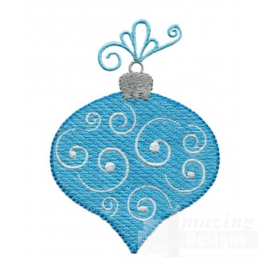 Blue Pear Iridescent Ornament Embroidery Design