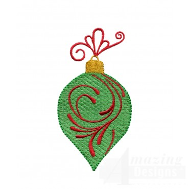Green Bulb Iridescent Ornament Embroidery Design