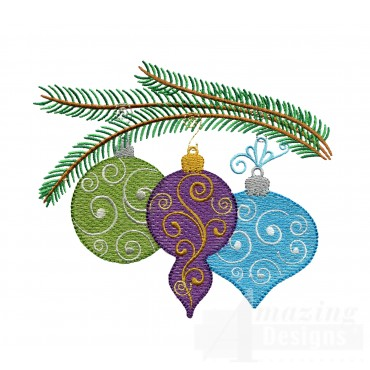 Iridescent Ornaments On Bough Embroidery Design
