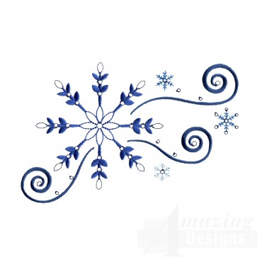 Crystal Snowflake Swirl Embroidery Design