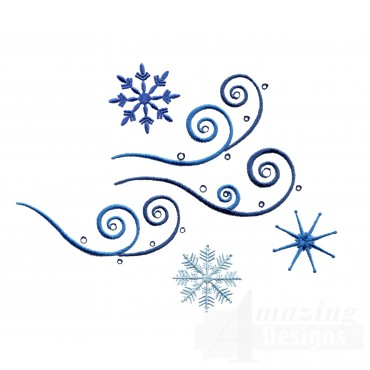 Swril Crystal Snowflakes Embroidery Design