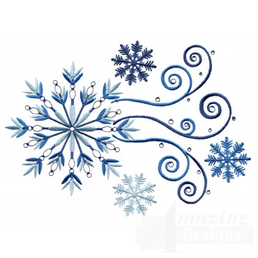 Large Crystal Snowflake Group Embroidery Design