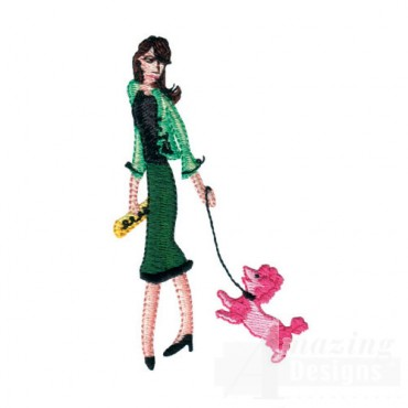 Lady Walking Poodle
