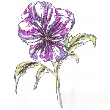 Pansy Sketchbook Flower Embroidery Design
