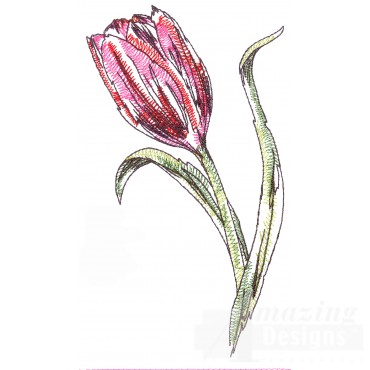 Tulip Sketchbook Flower Embroidery Design