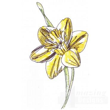 Daffodil Sketchbook Flower Embroidery Design