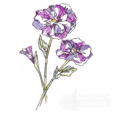 Pansies Sketchbook Flower Embroidery Design
