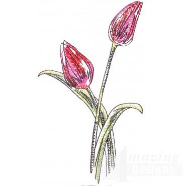 Tulips Sketchbook Flower Embroidery Design