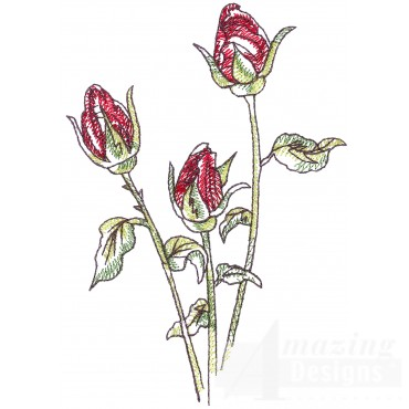 Rose Buds Sketchbook Flower Embroidery Design