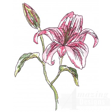 Lilies  Sketchbook Flower Embroidery Design