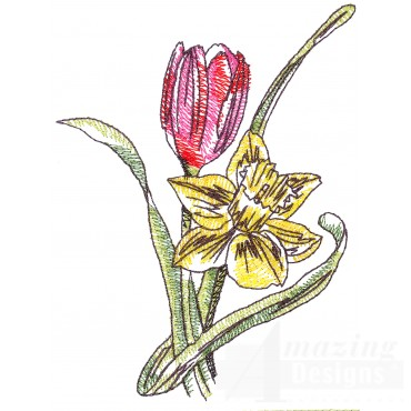 Tilip And Daffodil Sketchbook Embroidery Design