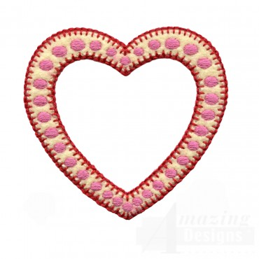 Open Polka Dot Heart Folk Art Embroidery Design
