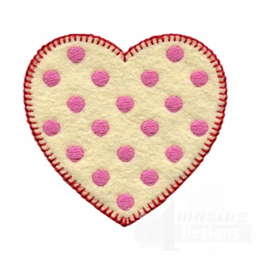 Pink Polka Dot Heart Folk Art Embroidery Design