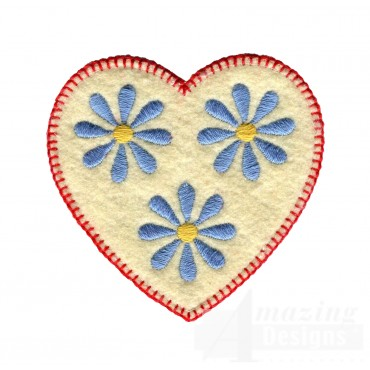 Blue Daisy Heart Folk Art Embroidery Design