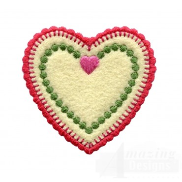 Scalloped Heart Folk Art Embroidery Design