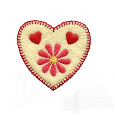 Daisy And Hearts Folk Art Embroidery Design