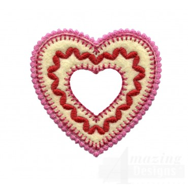 Bordered Heart Folk Art Embroidery Design