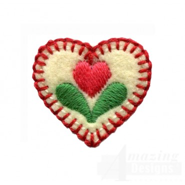 Tiny Heart Plant Folk Art Embroidery Design