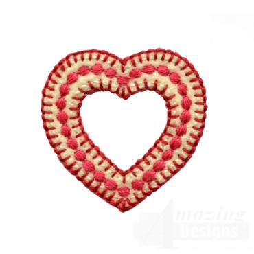Polka Dot Hollow Heart Folk Art Embroidery Design