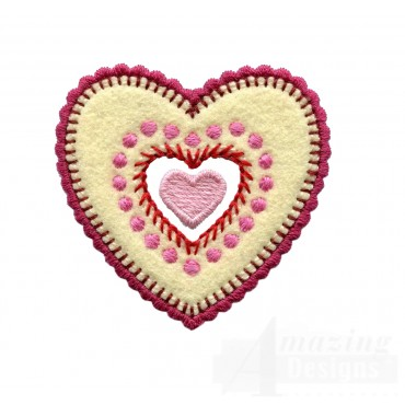 Layered Hearts  Folk Art Embroidery Design