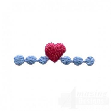 Decorative Heart Line Folk Art Embroidery Design