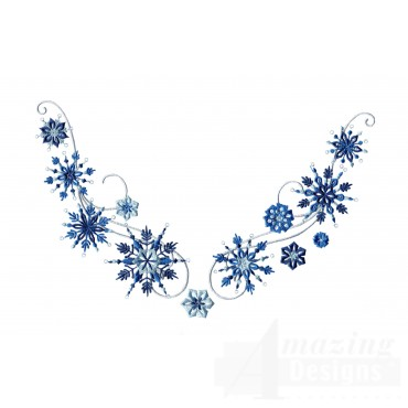Snowflake Jeweled Neckline Embroidery Design
