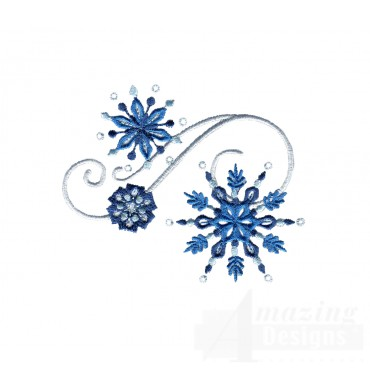 Snowlfake Jeweled Grouping Embroidery Design