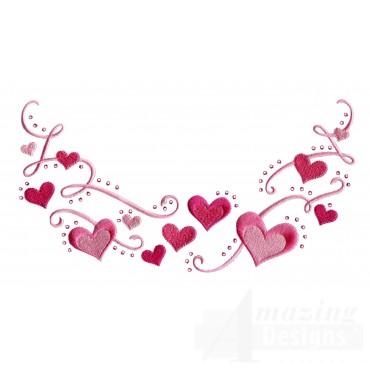 Heart Jeweled Neckline Embroidery Design