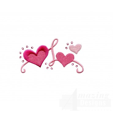 Jeweled Heart Grouping Embroidery Design