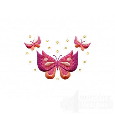 Butterfly Jeweled Grouping Embroidery Design