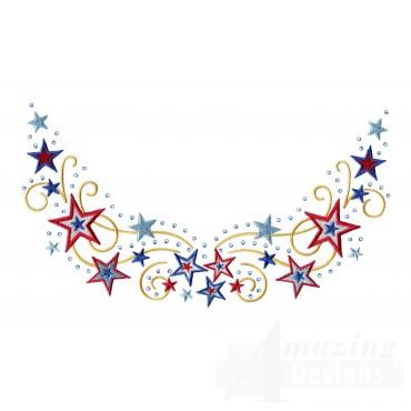 Stars Jeweled Neckline Embroidery Design