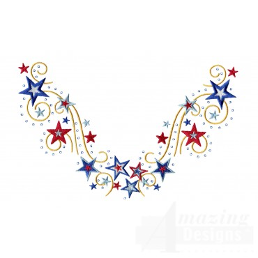 Stars Jeweled Neckline Embroidery Design