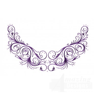 Scrollwork Jeweled Neckline Embroidery Design