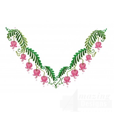 Bleeding Hearts Jeweled Neckline Embroidery Design