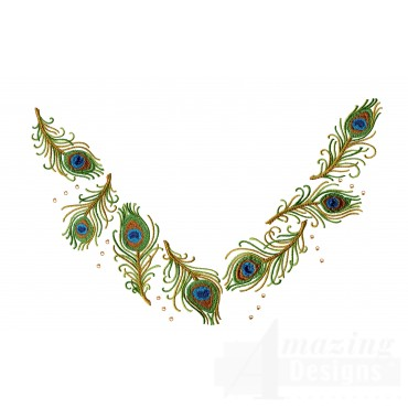 Peacock Feather Jeweled Neckline Embroidery Design