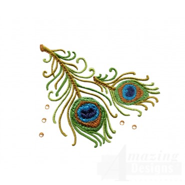 Peacock Feather Jeweled Grouping Embroidery Design