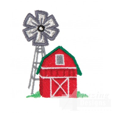 Applique Windmill And Barn