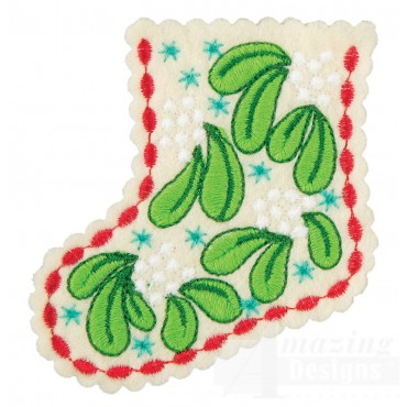 Mistletoe Stocking Ornament Embroidery Design