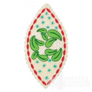 Mistletoe Teardrop Ornament Embroidery Design