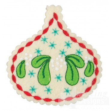Mistletoe Teardrop 2 Ornament Embroidery Design
