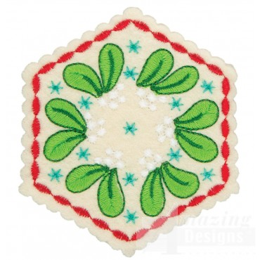 Mistletoe Hexagon Ornament Embroidery Design