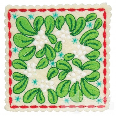 Mistletoe Square Ornament Embroidery Design