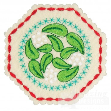 Mistletoe Hexagon 2 Ornament Embroidery Design