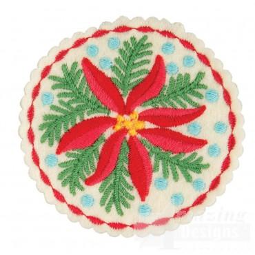 Poinsettia Circle Ornament Embroidery Design