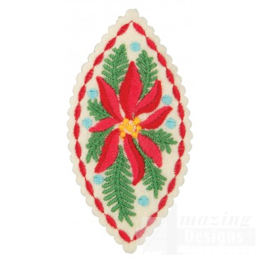 Poinsettia Teardrop Ornament Embroidery Design