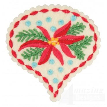 Poinsettia Teardrop Ornament Embroidery Design