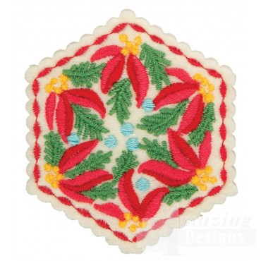 Poinsettia Hexagon Ornament Embroidery Design