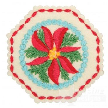 Poinsettia Hexagon 2 Ornament Embroidery Design